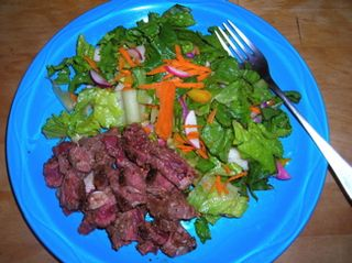 Buffalo steak, salad