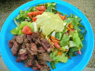 Buffalo steak salad, dressed
