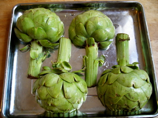 Artichokes in pan