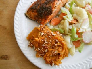 Salmon, sweet potato, pb veg