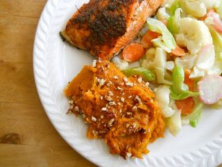 Salmon sweet potato pb veg