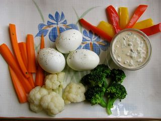 Blanched Veggies w: Olive Tahini Dressing