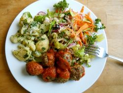 Meatballs, potato, salad