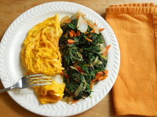 Turmeric infused omelet with greens