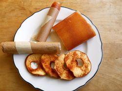 Fruit roll ups, apple chips